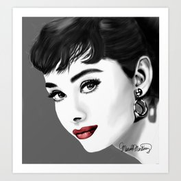 c63744db50 Portrait of Audrey Hepburn in gray-scale and red lips Art Print