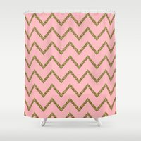 gold glitter Shower Curtains featuring Gold & Pink Glitter Chevron by Stay Inspired