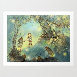 Firefly Forest Art Print