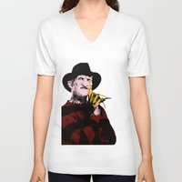 freddy krueger V-neck T-shirts featuring Horror Series Pop Art: Freddy Krueger by AlyBee