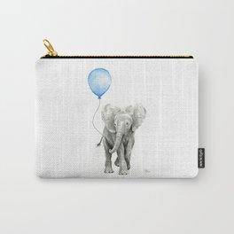 Baby Animal Elephant Watercolor Blue Balloon Baby Boy Nursery Room Decor Carry-All Pouch