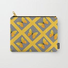 GOLDEN BUTTERFLIES GREY LATTICE  DESIGN Carry-All Pouch