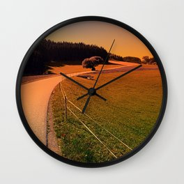 Hiking trip in summer time   landscape photography Wall Clock