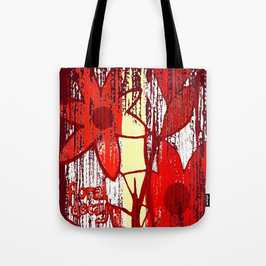 Red Floral Decay Tote Bag