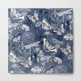 Dragonflies, Butterflies and Moths With Plants on Navy Metal Print