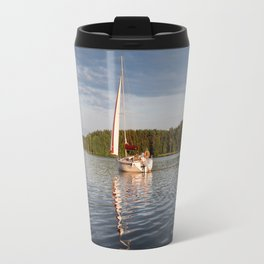 white boat sailing view Travel Mug