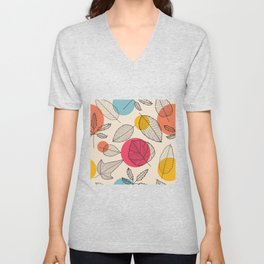 Linear autumn plant leaves and colored circles hand drawn seamless pattern Unisex V-Neck
