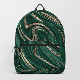Emerald Green Black Gold Glitter Marble #1 #decor #art #society6 Backpack