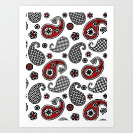 Paisley Pattern, Black, White, Gray and Red Art Print