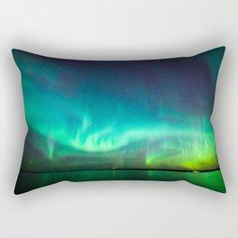 Northern lights glow over lake Rectangular Pillow