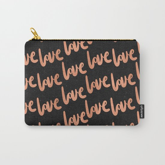 Love Rose Gold Pink on Black Carry-All Pouch