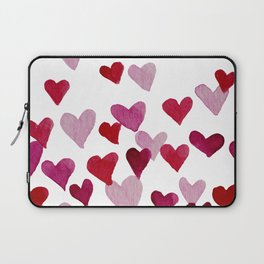 Valentine's Day Watercolor Hearts - pink Laptop Sleeve
