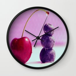 Food Design fresh Cherry and Bluebeeries Wall Clock