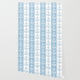 Nautical Sailor Stripes with Anchor Pattern Pale Blue 241 Wallpaper