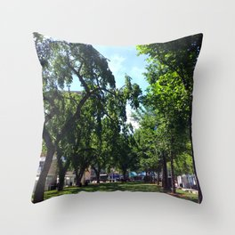Sir Winston Churchill Square Summer Elms Throw Pillow