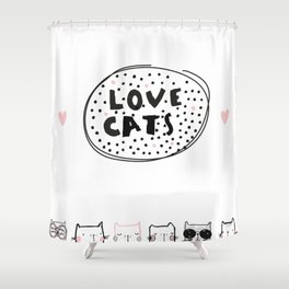 Love Cats Shower Curtain