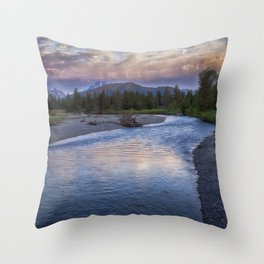 Morning on the Snake River - Grand Teton national Park Throw Pillow