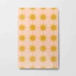 Gold Sunny Sunshine Sun Pattern Metal Print