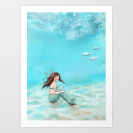 Shy mermaid Art Print