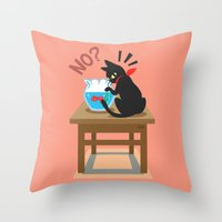 goldfish Throw Pillows featuring Goldfish by BATKEI