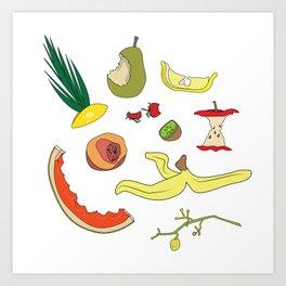 Leftover fruits - illustration Art Print