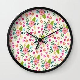 Pink Fuchsia Spring Flower Pattern Wall Clock