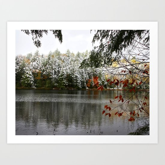 Autumn Frosting - A Fall Snow Day Art Print