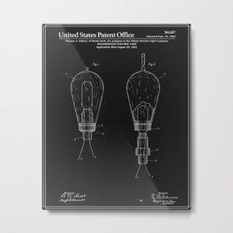 Thomas Edison Electric Lamp Patent - Black Metal Print