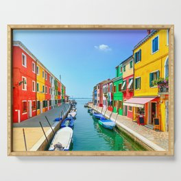 Venice, Burano island canal, colorful houses and boats, Italy Serving Tray
