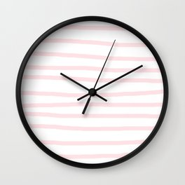 Simply Drawn Stripes in Pink Flamingo Wall Clock
