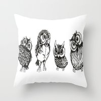 owls Throw Pillows featuring OWLS by Acus