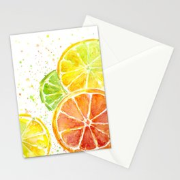 Fruit Juicy Citrus Watercolor Stationery Cards