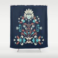 folk Shower Curtains featuring Folk by Carolina Abarca