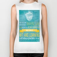 ravenclaw Biker Tanks featuring Wise Old Ravenclaw by MilkP