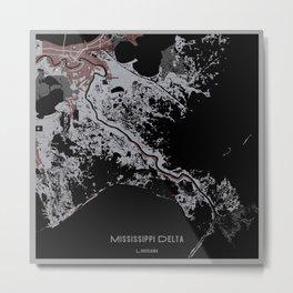 Mississippi Map, Square Metal Print