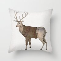 stag Throw Pillows featuring Stag by David Fleck
