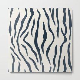 Dark Navy Blue Tiger Stripes Pattern on Alabaster White Metal Print