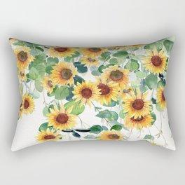 Sunflowers and Eucalyptus Garland  Rectangular Pillow