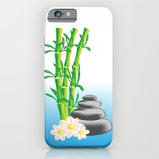 Meditation stones with bamboo and flowers iPhone 6s Slim Case