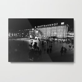Hauptbahnhof Köln, Central Station in Cologne, Germany - Black and white travel photography Metal Print