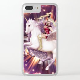 Andora: Drag Queen Riding a Unicorn Clear iPhone Case