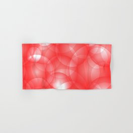 Gentle intersecting red translucent circles in pastel colors with a ruby glow. Hand & Bath Towel