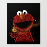 elmo Canvas Prints featuring Elmo and Little Butterfly by Fathi