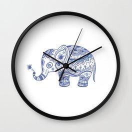 Blue Tones Faux Glitter Cute Elephant Wall Clock