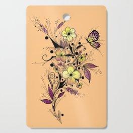 Flower Tattoo in Yellow and Purple Cutting Board