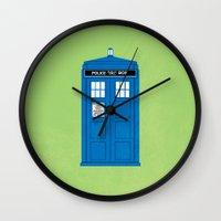 doctor who Wall Clocks featuring DOCTOR WHO. by John Medbury (LAZY J Studios)