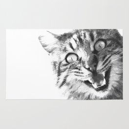 Black and White Happy Cat Rug