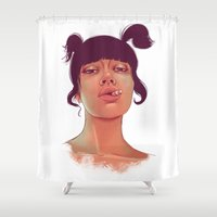 cigarette Shower Curtains featuring Girl cigarette by Danit Rotart