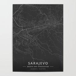 Sarajevo, Bosnia and Herzegovina - Dark Map Poster