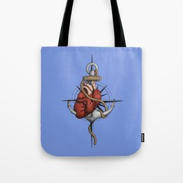 Love and Sea (anchor with heart and compass) Tote Bag